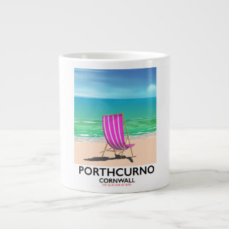 Porthcurno Cornwall beach travel poster Large Coffee Mug