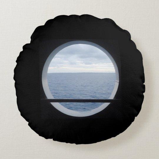 Porthole View Nautical Round Cushion