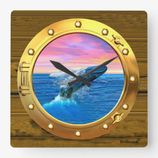 Porthole View of a Breaching Whale Square Wall Clock