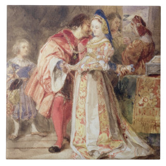 Portia and Bassanio, c.1826 (w/c, brown ink, bodyc Large Square Tile