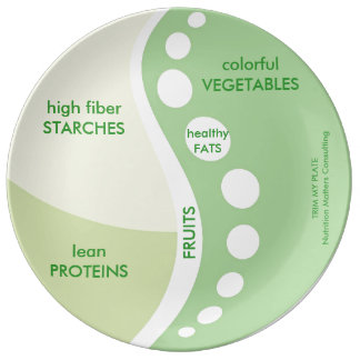 Portion-sized plate for weight management porcelain plate