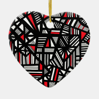 Portis Abstract Expression Red White Black Ceramic Heart Decoration
