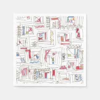 Portland-Abstract Art Print Disposable Serviettes