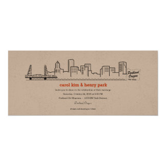 Portland City Skyline Invitation