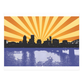 Portland cityscape pop art postcard