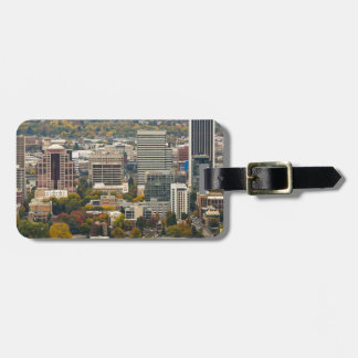 Portland Downtown Cityscape in Fall Season Luggage Tag