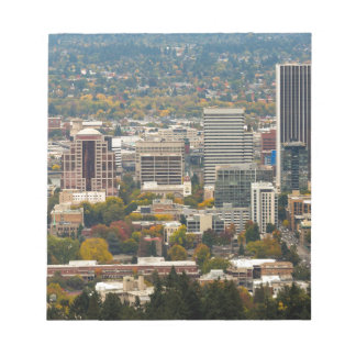 Portland Downtown Cityscape in Fall Season Notepad