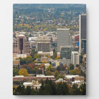 Portland Downtown Cityscape in Fall Season Plaque