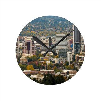 Portland Downtown Cityscape in Fall Season Round Clock