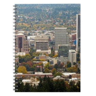 Portland Downtown Cityscape in Fall Season Spiral Notebook