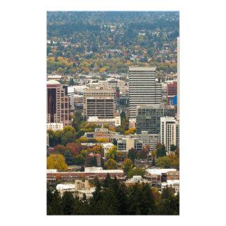 Portland Downtown Cityscape in Fall Season Stationery
