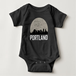 Portland Full Moon Skyline Baby Bodysuit
