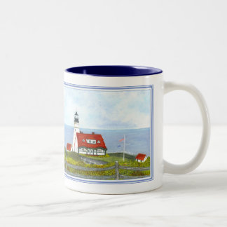 """Portland Head Light """"A View from the Hill"""" #6 Two-Tone Coffee Mug"""