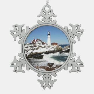 Portland Head Light Snowflake Pewter Christmas Ornament