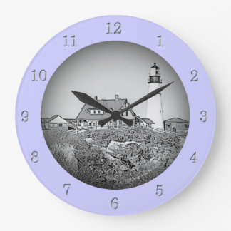 Portland Head Lighthouse Maine Sketch Wall Clock