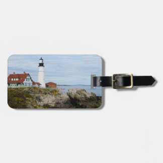 Portland Headlight lighthouse on rocky shore Luggage Tag