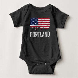 Portland Maine Skyline American Flag Distressed Baby Bodysuit