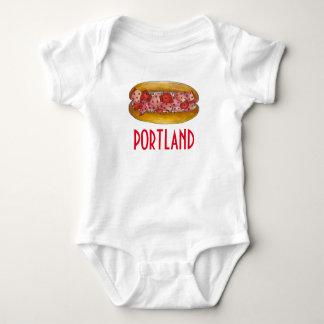 Portland ME Maine Lobster Roll Sandwich Baby Suit Baby Bodysuit
