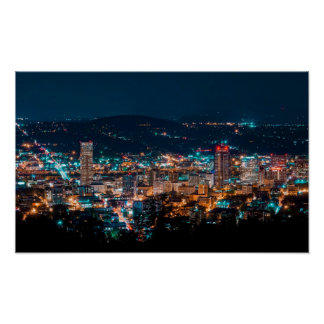 Portland Night Skyline Poster