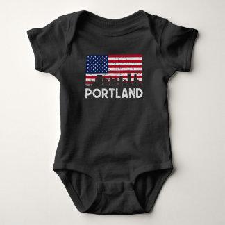 Portland OR American Flag Skyline Distressed Baby Bodysuit