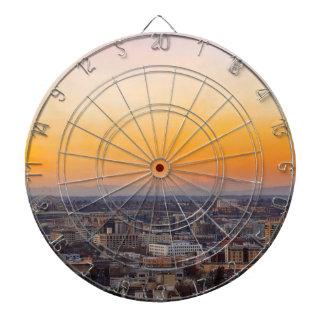 Portland OR Cityscape and Mt Saint Helens sunset Dartboard