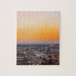 Portland OR Cityscape and Mt Saint Helens sunset Jigsaw Puzzle