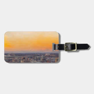Portland OR Cityscape and Mt Saint Helens sunset Luggage Tag