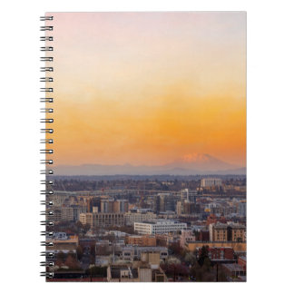 Portland OR Cityscape and Mt Saint Helens sunset Notebook