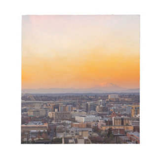 Portland OR Cityscape and Mt Saint Helens sunset Notepad