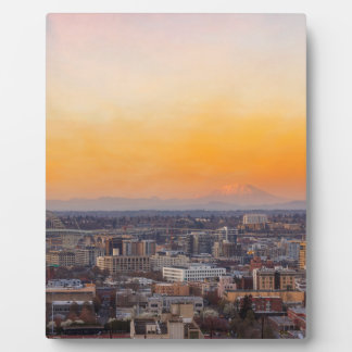 Portland OR Cityscape and Mt Saint Helens sunset Plaque