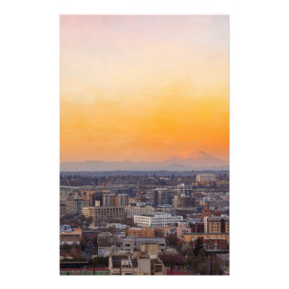 Portland OR Cityscape and Mt Saint Helens sunset Stationery