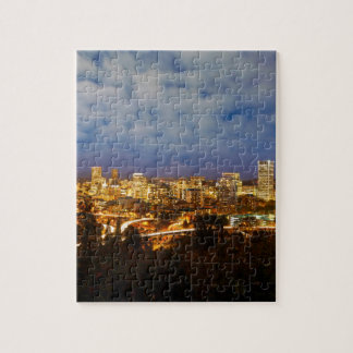 Portland OR Cityscape at Blue Hour Jigsaw Puzzle