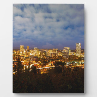 Portland OR Cityscape at Blue Hour Plaque