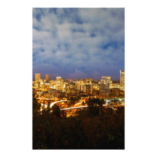 Portland OR Cityscape at Blue Hour Stationery
