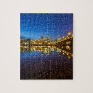 Portland OR Downtown city skyline Blue Hour Jigsaw Puzzle