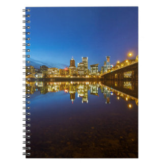 Portland OR Downtown city skyline Blue Hour Notebook