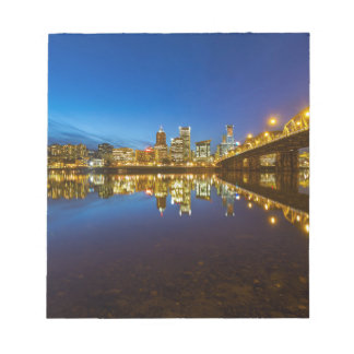 Portland OR Downtown city skyline Blue Hour Notepad
