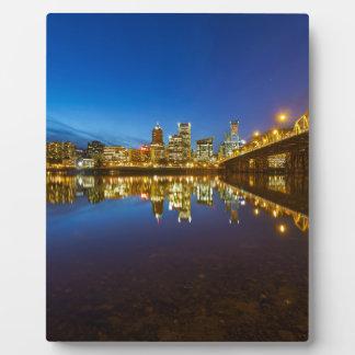 Portland OR Downtown city skyline Blue Hour Plaque