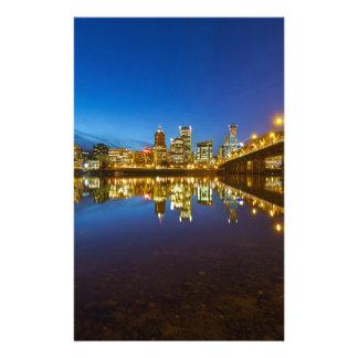Portland OR Downtown city skyline Blue Hour Stationery