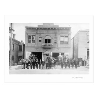 Portland, OR Fire Station Horse Drawn and Men Post Cards
