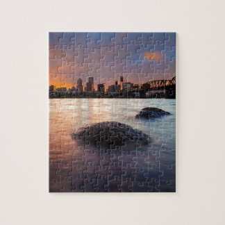 Portland OR Skyline along Willamette River Sunset Jigsaw Puzzle