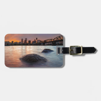 Portland OR Skyline along Willamette River Sunset Luggage Tag