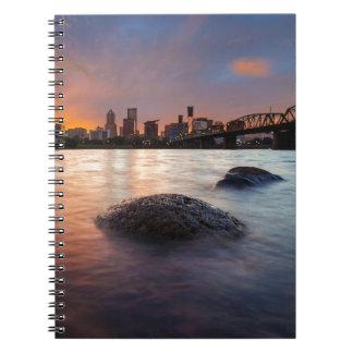 Portland OR Skyline along Willamette River Sunset Notebook