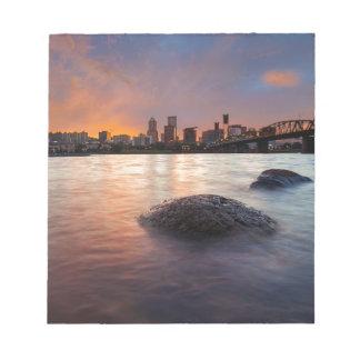 Portland OR Skyline along Willamette River Sunset Notepad