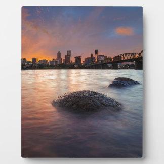 Portland OR Skyline along Willamette River Sunset Plaque