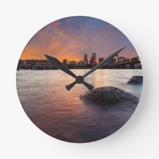 Portland OR Skyline along Willamette River Sunset Round Clock