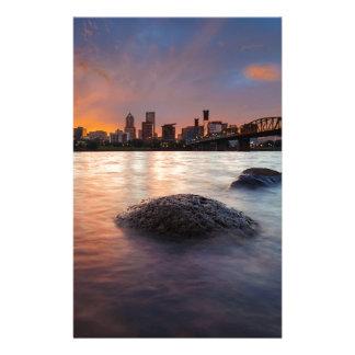Portland OR Skyline along Willamette River Sunset Stationery