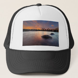 Portland OR Skyline along Willamette River Sunset Trucker Hat