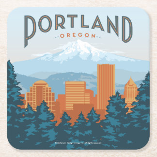 Portland, OR Square Paper Coaster