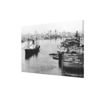 Portland, OR View Lumber Wharf and Ocean Liner Canvas Print